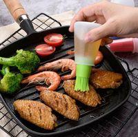 Botella de aceite de silicona portátil con cepillo Parrilla Parril de aceite con cubierta Liquid Aceite Pastelería Cocina Hornee BBQ Brush Herramientas de cocina DHF6226