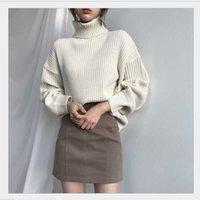Женские свитера водолазки-свитер Женщины осенью и зимой свободно толстые тепла 2021 сплошной цвет моды все совпадают дна в наличии