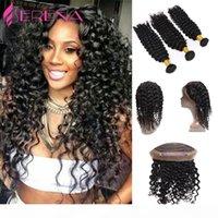 360 Frontal del cordón con el paquete de la onda profunda de la Virgen Malasia con cierre Hot 360 Frontal con paquetes Rosa Beauty Hair Products