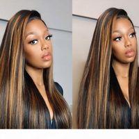 Vurgu Peruk Kahverengi Renkli İnsan Saç Peruk 13x4 4x4 Ombre Düz 28 30 32 34 Inç Peruk Bal Sarışın Dantel Ön İnsan Saç Peruk