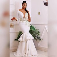 2021 Mermaid Wedding Dress One Sleeves Sexy Illusion Bridal Gowns With Appliqued Tiered Satin Marriage Dresses Custom Made Robe De Mariée