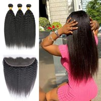 Kinky Straight Hair 3 Bundles With Lace Frontal 13x4 Human Hair 3 Bundles With Transparent Swiss Lace 10-30 Inch Hair Extensions