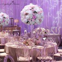 Flores decorativas Grinaldas 60cm 3/4 grande flor de flor artificial bola de seda mesa de seda para o evento de festa decoração de casamento Road buquê de chumbo