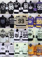 Factory Outlet Mens Los Angeles Reyes # 99 Gretzky Negro Amarillo Púrpura Blanco Blanco Mejor Calidad NUEVO NUEVO HOCKEY HOCKEY JERSEYS