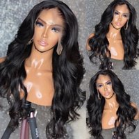 Body Wave Lace Front Wig Soft Hair T Part Synthetic Wigs Off Black Preplucked Middle Parts With Baby Hairs Cosplay Headband Wigss wavy