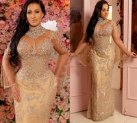 2021 Plus Size Arabic Aso Ebi Gold Luxurious Mermaid Prom Dresses Lace Beaded Crystals Long Sleeves Evening Formal Party Second Reception Gowns ZJ473