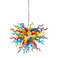 Contemporary Home Lamps LED Chandelier Interior Lights Source Italian Style Hand Blown Murano Multi Color Glass Chandeliers