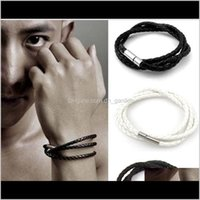 Charm Jewelrymens Leather Bangle Bracelets Black Brown Mesh Magnetic Stainless Steel Clasp Double Wrap Wristband Beautif Titanium Ps2465 Dro