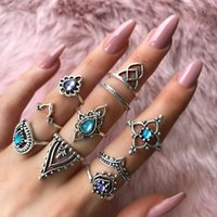 Wedding Rings 10 Pcs Set Fashion Gem Hollow Crown Midi Ring Set Vintage Crystal Opal Finger Knuckle Lady Punk Accessories Jewelry
