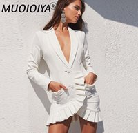Casual Dresses Runway Blazer Dress 2021 Fashion Designer Jacket Women's Double Breasted Single Button Elegant Sexy Mini Party Suit