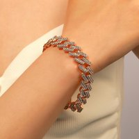 Link, Chain Fashion Luxury Iced Out Cuban Link Bracelet For Women Men Gold Silver Color Bling Rhinestone Jewelry
