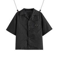 2021 Amerika Birleşik Devletleri Avrupa Bayan Erkek Gömlek Casual Marka Kısa Bluzlar Klasik Ters Üçgen Gevşek İthal Yüksek Kaliteli Naylon Takım EUR Boyutu Yaz Tops