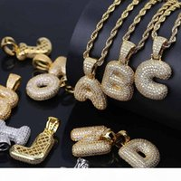 Mens Hip Hop Jewelry Fashion Iced Out Letter Pendant Necklace Gold Initial Letters Necklaces For Men