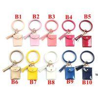 Bracelet Keychain Wallet Leopard Snake PU Leather Tassel Women Card Bag Women Clutch Wristlet Keyring HWE6608