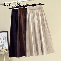 Beiyingni saia vintage mulheres malha alta cintura uma linha macia casual elegante saias negra streetwear primavera moda Midi Saia