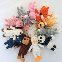 16-18CM Forest Animal Model Plush Doll Keychain Bag Stuffed Filled Pendant Appease Toys Kawaii Cute Striped Rabbit Monkey Rhinoceros Lion for Children Girl