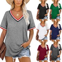 2021 Summer new wish European and American V-neck striped stitched short-sleeved T-shirt women's wear