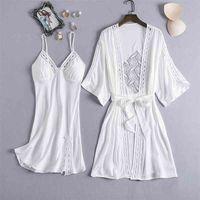 Mechcitiz Femmes Sexy Dentelle Silk Robe Robe Set Pyjamas Ensemble De Sommeil Robe De Sleep Bathrobe 2 Pièce Robe De Robe De demoiselle d'honneur De Sleepwear 210831