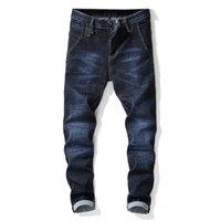 2019 Yüksek Kalite Erkekler Kot Koyu Mavi Yırtık Yıkılan Jean Homme Masculino Moda Tasarım Erkek Jean Ince Kot Erkek Pantolon
