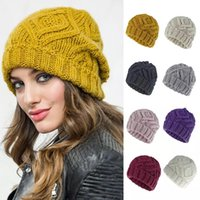 Unisex Winter Warm Twist Knitted Beanie Hat Women Rhombus Plaid Chunky Weave Outdoor Ski Stretchy Cuffed Skull Cap Solid Color