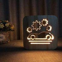 Night Lights Animal Car Light Simple Table Lamp Aircraft Rocket Submarine Puppy Holiday Lighting USB Creative Solid Wood Birthday Gift