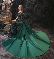 Elegante One-Shoulder Abendkleider Meerjungfrau Sweep Train Full Sexy Pailletten Spitze Seite Reißverschluss Unsichtbar