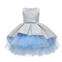 Bordado de encaje Formal Sin mangas Vestido de boda Tutu Princess Vestido Flower Girls Niños Ropa para niños Fiesta para niña Ropa para niña 967 V2
