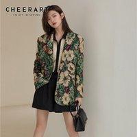 빈티지 꽃 무늬 인쇄 블레이저 여성 디자이너 재킷 슈트 화려한 녹색 자 켓 코트 겉옷 2021 가을 패션 여성의 정장 블레이저