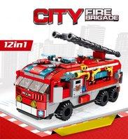 12 en 1 Ciudad Fuego Brigada Motor Kits Modelo Modelo Bloques de construcción Ladrillos