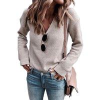 Вязаный свитер Женская Одежда Одежда осень зима Kalenmos V шеи Длинные пуловеры на спирав.