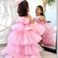 Tjejklänningar Skräddarsy Rose Tulle Princess Puffy Flower Girl Dress Baby För Bröllopsfest Högt Låg Kid Brithday Kjol First Communion Gown