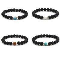 8mm Natural Lava Stone Beaded Strands Handmade Charm Bracelets For Women Men Party Club Yoga Sports Jewelry