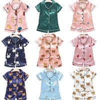 عارضة النوم البدلة الملابس الحرير الاطفال طفل الفتيات منامة مجموعة لطيف ملابس الأطفال قصيرة الأكمام للأولاد 210806