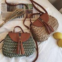 Vintage Quaste Sattel Rattan Frauen Shouder Crossbody Taschen Designer Wikcer gewebt Handtaschen Casual Damen Sommer Strand Stroh Geldbörsen Schulter