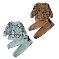 Abbigliamento Set Dropship Baby Girl Boy Leopardo Vestiti set Top Pullover Felpa Pantaloni Autunno Autunno Inverno caldo 2 pz Bambini