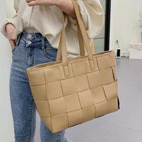 Вечерние сумки Big Weave Tote для женщин Качество ПУ кожаная сумка на плечо большой тканый покупатель дамы дизайнерские сумки мешок