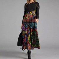Casual Dresses Autumn Winter Patchwork Women Dress Vintage Retro Long Sleeve Party Midi Vestidos