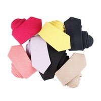 Bow Ties 6cm Candy Color Mens Solid Necktie Cotton & Linen Skinny Casual Party Wedding Business Banquet Men Accessories Coffee Gray