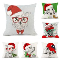 Cushion Decorative Pillow Christmas Dog Animal Pillowcase Cotton And Linen Cushion Without Core Printing 45*45cm