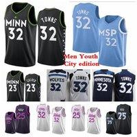 Hommes Kids Karl-Anthony 32 Villes Derrick 25 Rose 21 Garnett Basketball Jerseys 2020/21 Ville Nouvelle édition Jerseys Bleu Red Blanc Jeune S-3XL