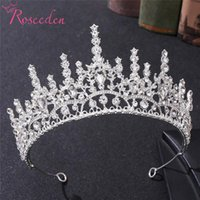 Hair Clips & Barrettes Baroque Clear Red Green Blue Rhinestones Wedding Crown Luxury Queen Tiaras For Bridal Accessories RE4222