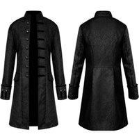 Men's Jackets Uniform Coat, Steam Punk Long Style Stand Collar Solid Retro Trench Show Clothing Halloween Party Costume