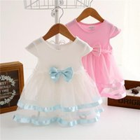 Girl's Dresses Summer Baby Girl Dress Lovely Net Yarn Splicing Romper 6-24M O-Neck Babe One-Piece Mesh Cotton Born Clothes For Party