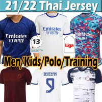 21/22 Real Madrid Soccer Jerseys Sergio Ramos Peligro Benzema 2021 2022 Asensio Modric Marcelo Jersey Men Kits Kits Camisa de Fútbol Camisa Polo Entrenamiento Uniformes Thai
