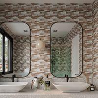 Art3D 10 stks peel en stick backsplash tegels 3D muurstickers zelfklevend waterdicht voor keuken badkamer slaapkamer wasruimtes, marmeren ontwerp, achtergronden