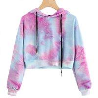 Women's Hoodies & Sweatshirts Women Cropped Top Sweatshirt Autumn Fabala Drawstring Long Sleeve Print Water Color Pullover