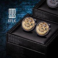 KFLK Mücevher Gömlek Manşet Bağlantıları Erkek Marka İzle Hareketi Mekanik Büyük Kol Düğmeleri Düğme Erkek Yüksek Kalite Konuklar Otomatik Ticking