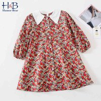 Humor Bear Children Clothing Girls Dress Lovely Princess Dress Toddler Long Sleeve Lace Collar Flowers Kids Party Girls Dress 210430