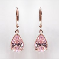 روز الماس للنساء أزياء الوردي توباز الأحجار الكريمة bizuteria 14k الذهب العقيق قطرة القرط orecchini الفتيات