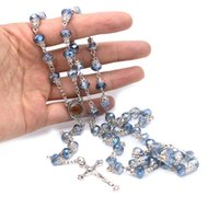 Pendant Necklaces 8mm Blue Crystal Beads Chain Catholic Rosary Necklace With Holy Land Medal Crucifix Cross Pendants Prayer Religious Jewelr